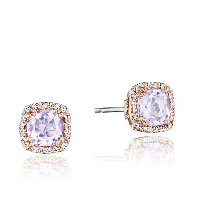 Crescent Crown Petite Pavé Rose Amethyst Fashion Earrings (SE244P13)