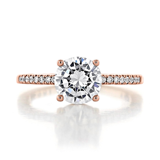 1.50 Ct. Round Moissanite Tacori Coastal Crescent Rose Gold Engagement Ring (P104RD75FPK-M)