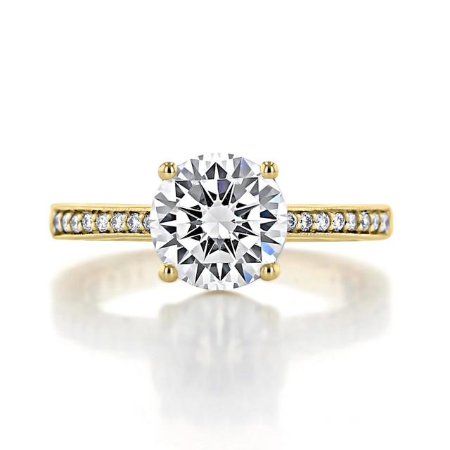 2.00 Ct. Round Moissanite Tacori Coastal Crescent Yellow Gold Engagement Ring (P1022RD8FY-M)