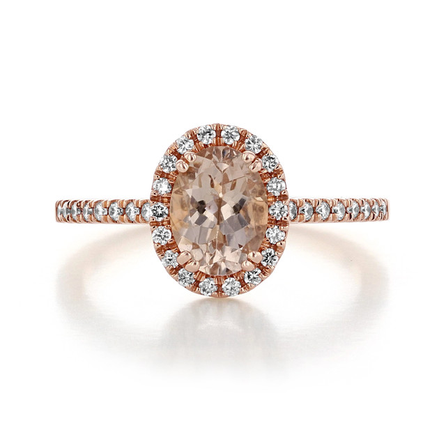 Oval Rose Gold Morganite Engagement Ring (R861-4)