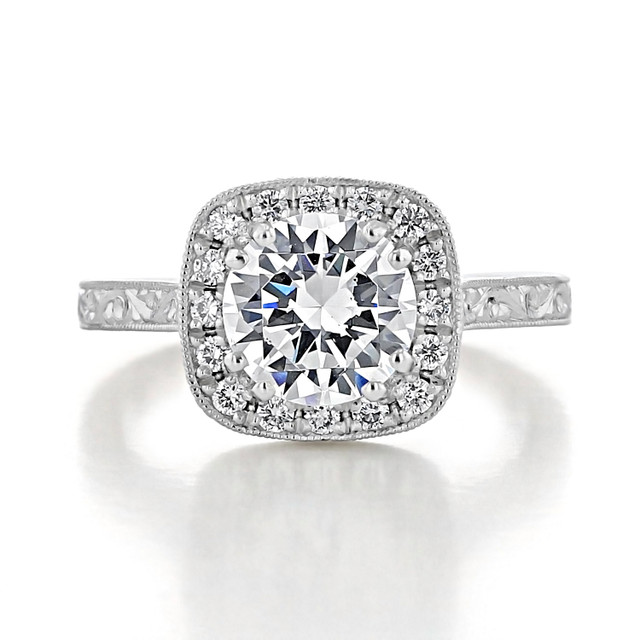 evertrue Engraved Halo Engagement Ring (EV58-ED)