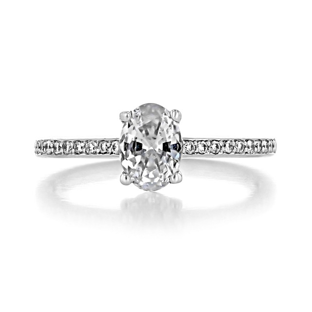 1 ct Oval Pavé White Gold Engagement Ring (DC14)