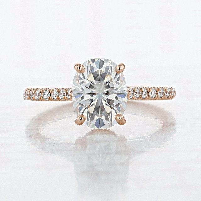 Micro-Prong Oval Shape Moissanite Engagement Ring (2006762)