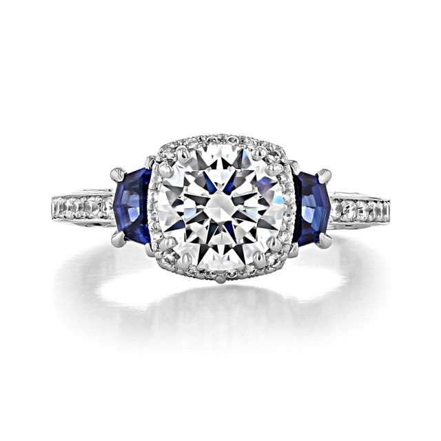 1.50 Ct. Round Moissanite Tacori Platinum Dantela Sapphire Three-Stone Engagement Ring (2628RDSP-M)