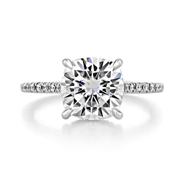 3.00 Ct. Cushion Cut Moissanite Hidden Halo Engagement Ring (CR09CU-M)