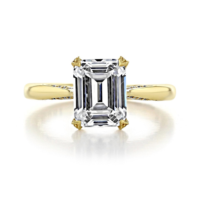 2.50 Ct. Emerald Cut Moissanite Tacori Yellow Gold RoyalT Engagement Ring (HT2625EC9X7-M)