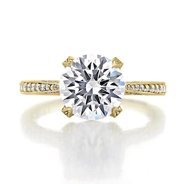 2.70 Ct. Round Moissanite Tacori Yellow Gold RoyalT Engagement Ring (HT2627RD9-M)
