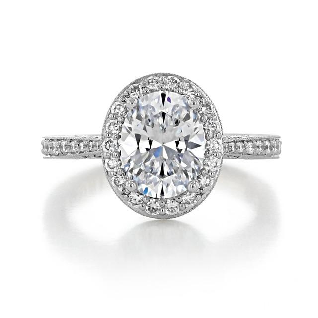 2.10 Ct. Oval Shape Moissanite Platinum Tacori RoyalT Engagement Ring (HT2652OV9X7-M)