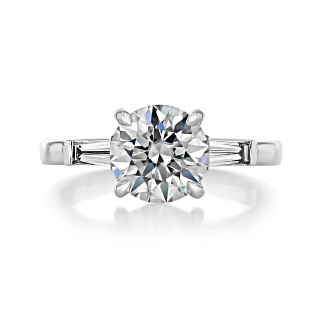 2.00 Ct. Round Baguette Three-Stone Engagement Ring (TR94)