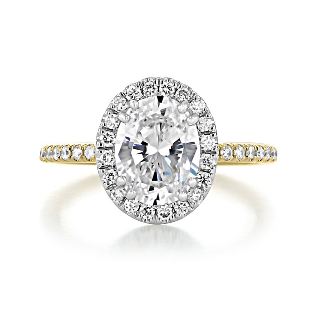 2.00 Ct. Oval Shaped Moissanite Two-Toned Halo Engagement Ring (CR16OV-M)