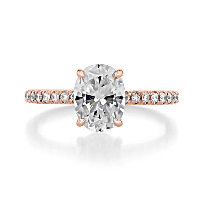 1.50 Ct. Oval Shaped Moissanite Rose Gold Micro-Prong Engagement Ring (CR160OV-M)