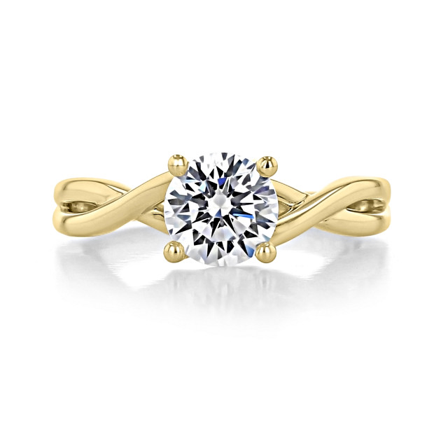 1.25 ct Round Gabriel Solitaire Twist Yellow Gold Engagement Ring (GC38-YG)