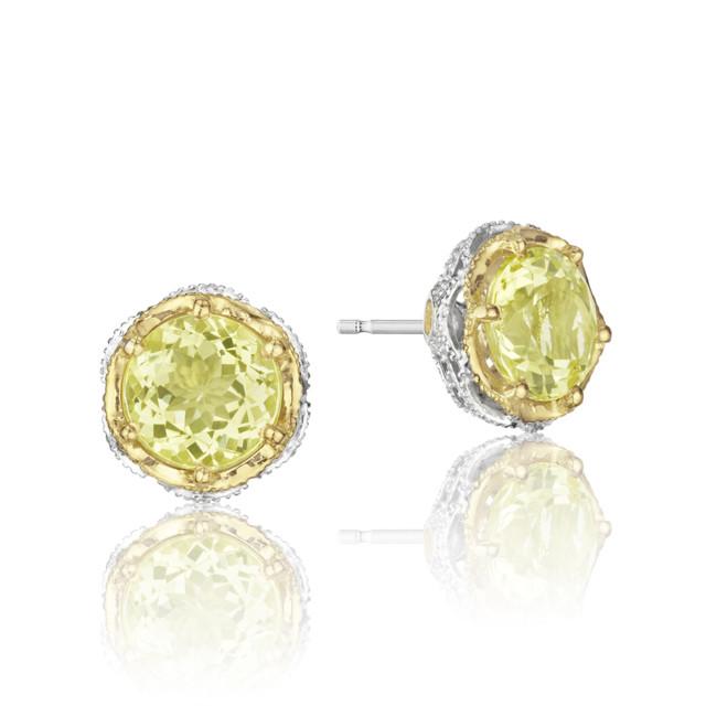 Crescent Crown Lemon Quartz Fashion Earrings  (SE105Y07)
