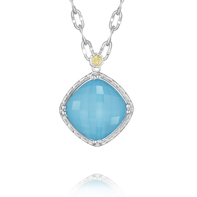 Crescent Embrace Neo-Turquoise Fashion Necklace (SN13405)