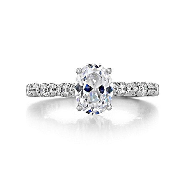 1 ct Tacori Petite Crescent White Gold Engagement Ring (HT2558OV8X6)
