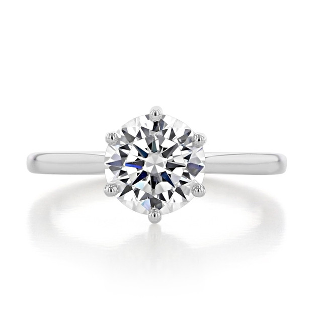 1.50 ct Round 6-Prong Solitaire White Gold Engagement Ring (EV117)