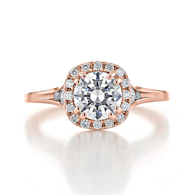 1.00 Ct. Round Moissanite Rose Gold Halo Solitaire Engagement Ring (EV13-M)