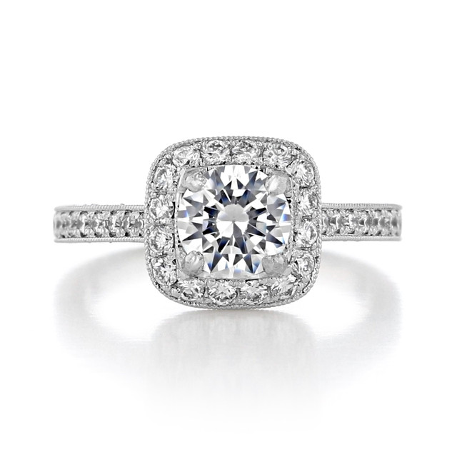 1 ct Round Halo Pavé White Gold Engagement Ring (CR68B)