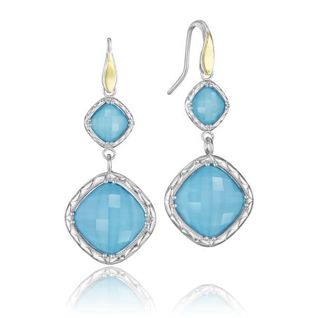 Crescent Embrace Neo-Turquoise Fashion Earrings (SE118Y05)