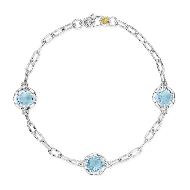 Crescent Crown Sky Blue Topaz Fashion Bracelet (SB22102)