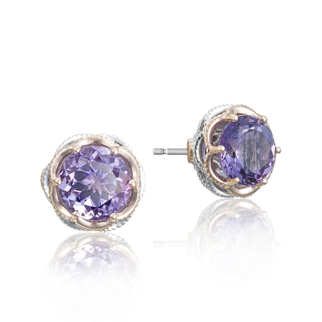 Crescent Crown Amethyst Fashion Earrings (SE105P01)