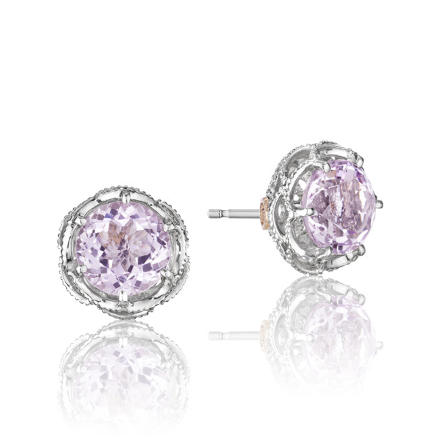 Crescent Crown Rose Amethyst Fashion Earrings (SE10513)