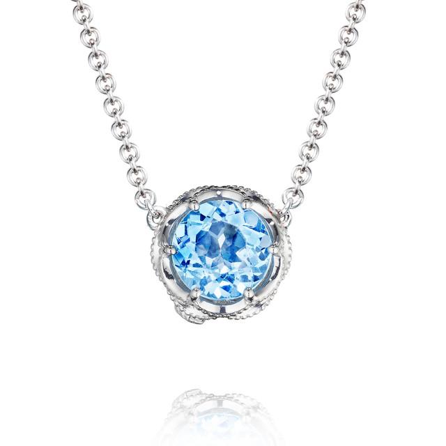 Crescent Crown Swiss Blue Topaz Fashion Necklace (SN20445)