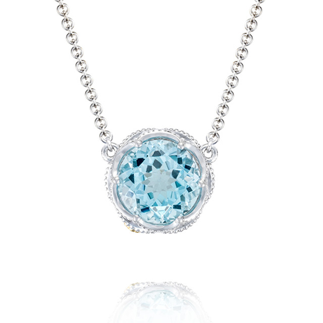 Crescent Crown Bold Sky Blue Topaz Fashion Necklace (SN22402)