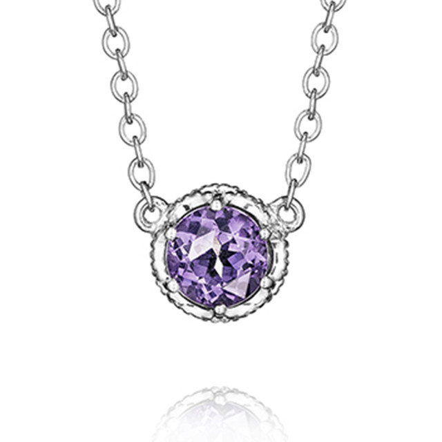 Crescent Crown Amethyst Fashion Necklace (SN23601)