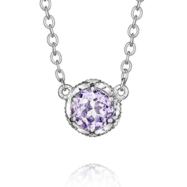 Crescent Crown Rose Amethyst Fashion Necklace (SN23613)