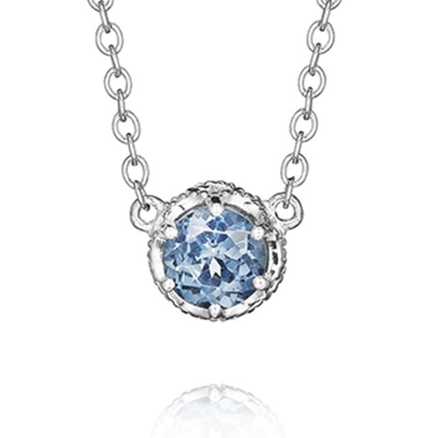Crescent Crown London Blue Topaz Fashion Necklace (SN23633)