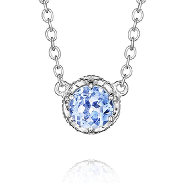Crescent Crown Swiss Blue Topaz Fashion Necklace (SN23645)