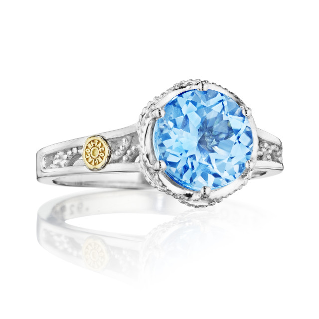 Crescent Crown Petite Swiss Blue Topaz Fashion Ring (SR22845)