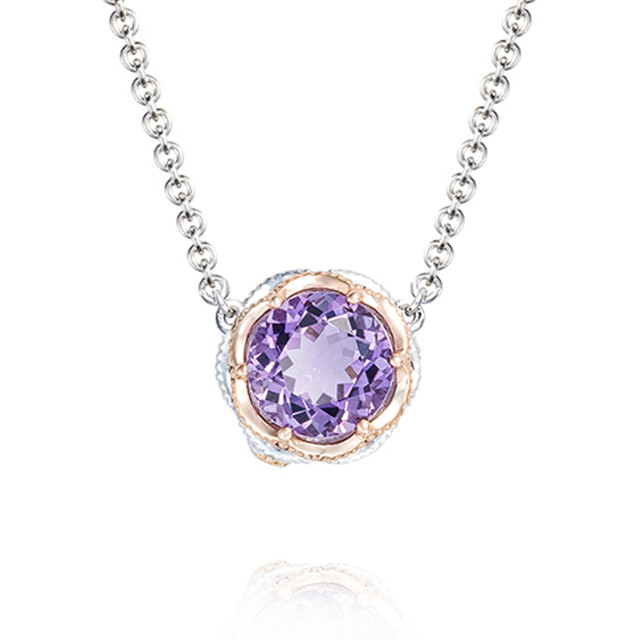Crescent Crown Amethyst Fashion Necklace (SN204P01)
