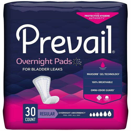 Prevail Daily Pads Overnight Bladder Control Pad First Quality PVX-120