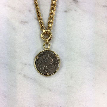 Pegasus Coin Knot Necklace