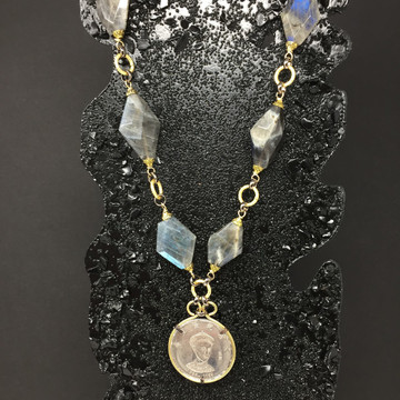 labradorite Asian Coin Necklace