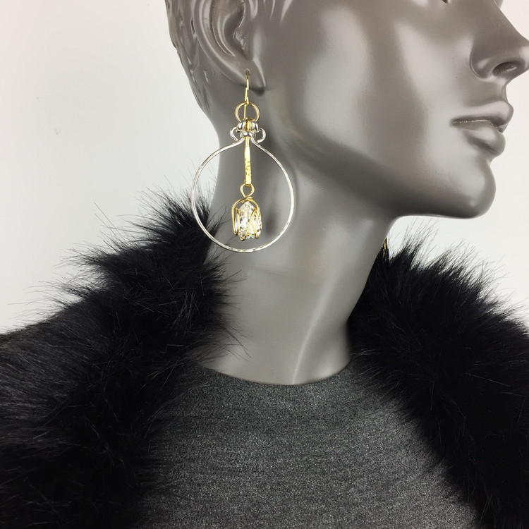 Bar Drop Capture Hoop Earrings
