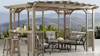 Yardistry Madison Pergola with Cedar Wood, Timber Gray Stain & Sunshade (10 ft. x 14 ft.)