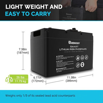 Renogy Lithium-Iron Phosphate Smart Battery 12V 100AH