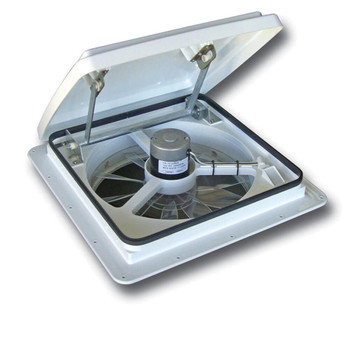 MaxxFan Plus 4000K 10-Speed Manual-Lift Roof Vent with Thermostat - White