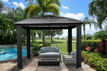 Siena Aluminum Hard Top Gazebo with Sliding Screen (12 ft. x 12 ft.)