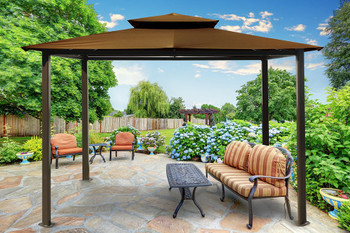 Barcelona Soft Top Gazebo with Cocoa Dome-Tex Canopy (10 ft. x 12 ft.)