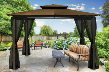 Barcelona Soft Top Gazebo with Cocoa Dome-Tex Canopy and Mosquito Netting (10 ft. x 12 ft.)
