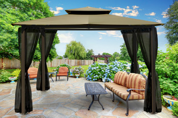 Barcelona Soft Top Gazebo with Sand Dome-Tex Canopy and Mosquito Netting (10 ft. x 12 ft.)