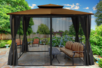 Barcelona Soft Top Gazebo with Cocoa Dome-Tex Canopy, Mosquito Netting and Curtains (10 ft. x 12 ft.)