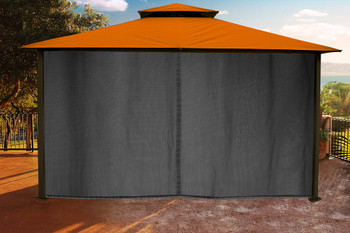 Barcelona Soft Top Gazebo with Rust Dome-Tex Canopy, Mosquito Netting and Curtains  (11 ft. x 14 ft.)