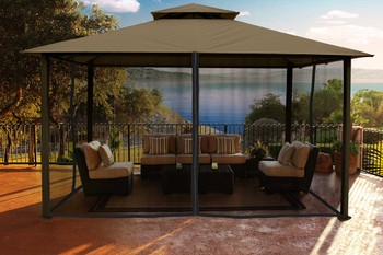 Barcelona Soft Top Gazebo with Sand Dome-Tex Canopy and Mosquito Netting (11 ft. x 14 ft.)