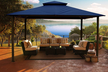 Barcelona Soft Top Gazebo with Navy Dome-Tex Canopy and Mosquito Netting (11 ft. x 14 ft.)