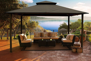 Barcelona Soft Top Gazebo with Grey Dome-Tex Canopy and Mosquito Netting (11 ft. x 14 ft.)